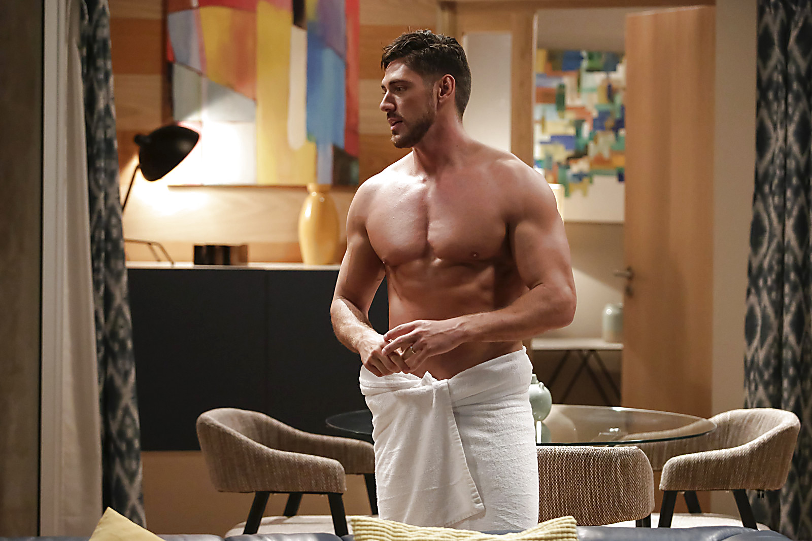 Angelo Rodrigues sexy shirtless scene August 17, 2020, 3pm