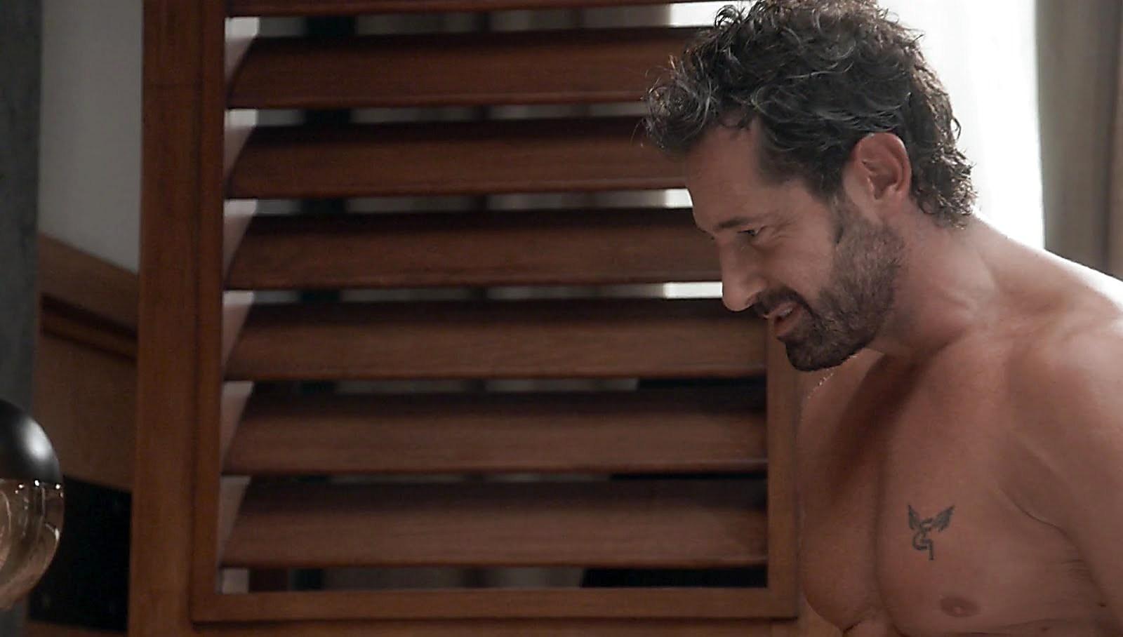Carlos Ferro sexy shirtless scene October 21, 2017, 1pm
