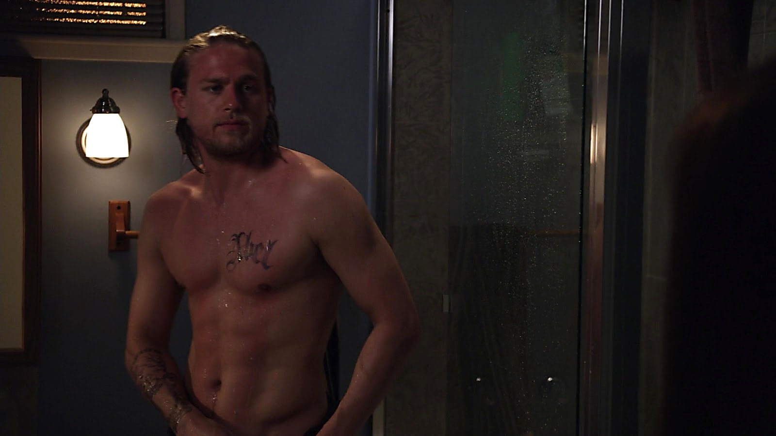 Charlie Hunnam sexy shirtless scene March 30, 2020, 6am