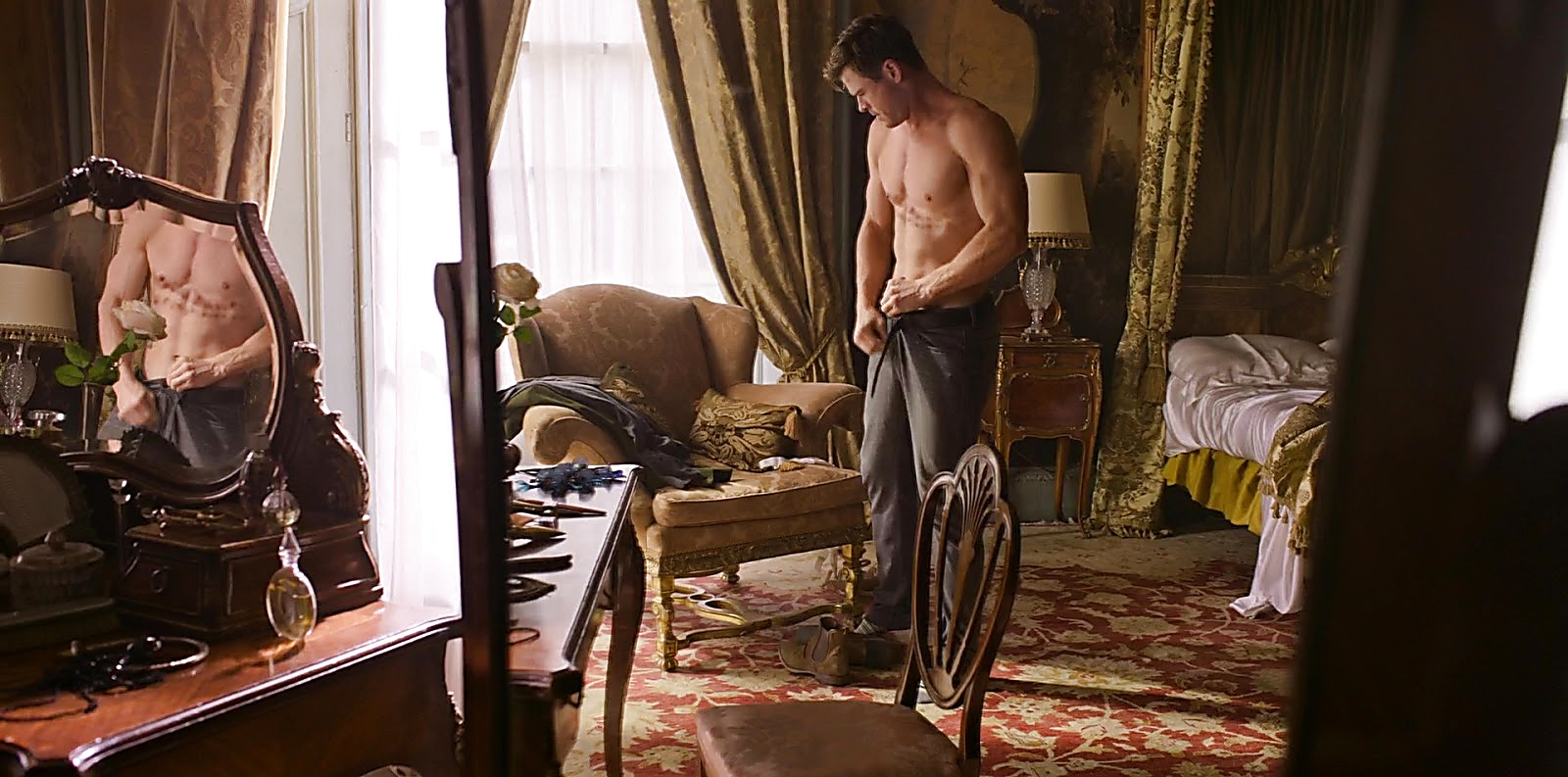 Chris Hemsworth sexy shirtless scene August 24, 2019, 6am