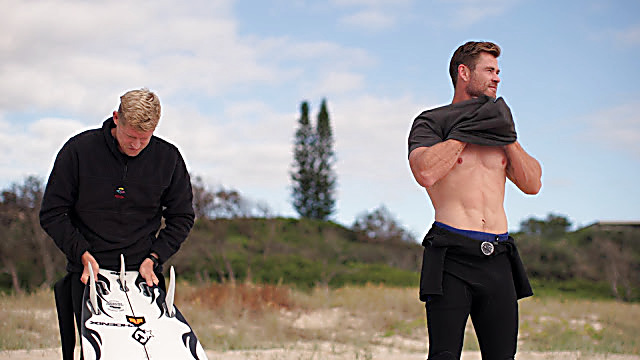Chris Hemsworth sexy shirtless scene July 9, 2021, 10am