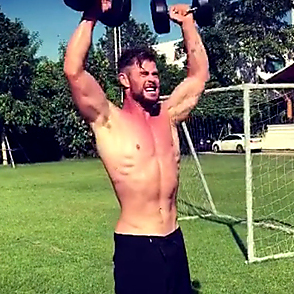 Chris Hemsworth latest sexy shirtless October 18, 2019, 2am