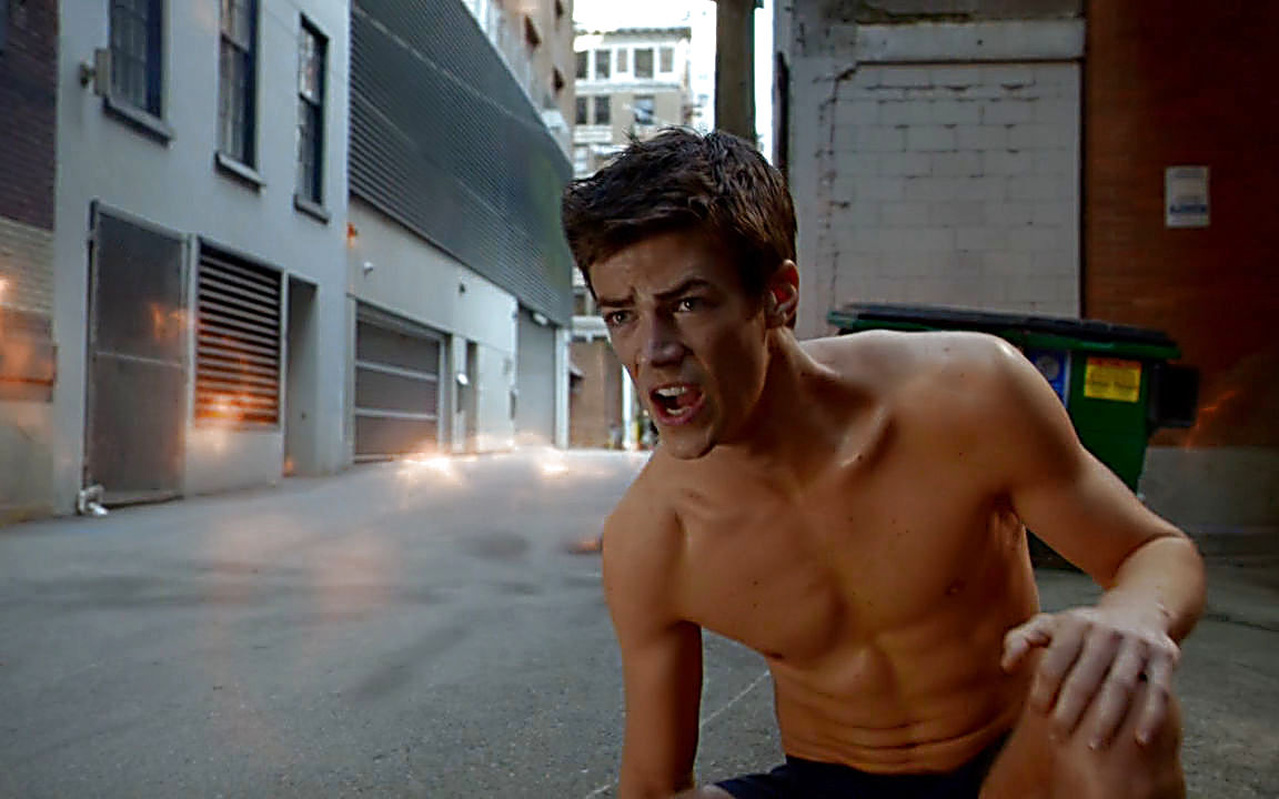 Grant Gustin sexy shirtless scene November 12, 2014, 12am