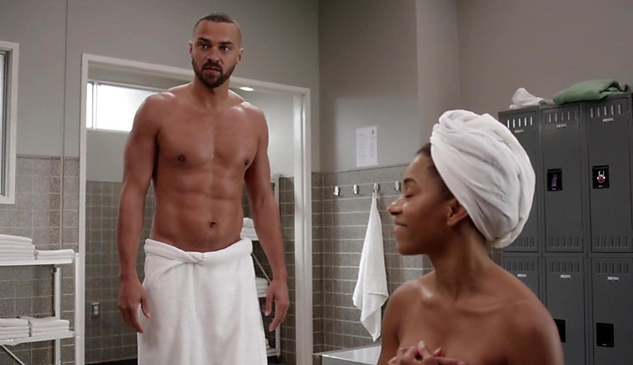 Jesse Williams sexy shirtless scene January 19, 2018, 1pm