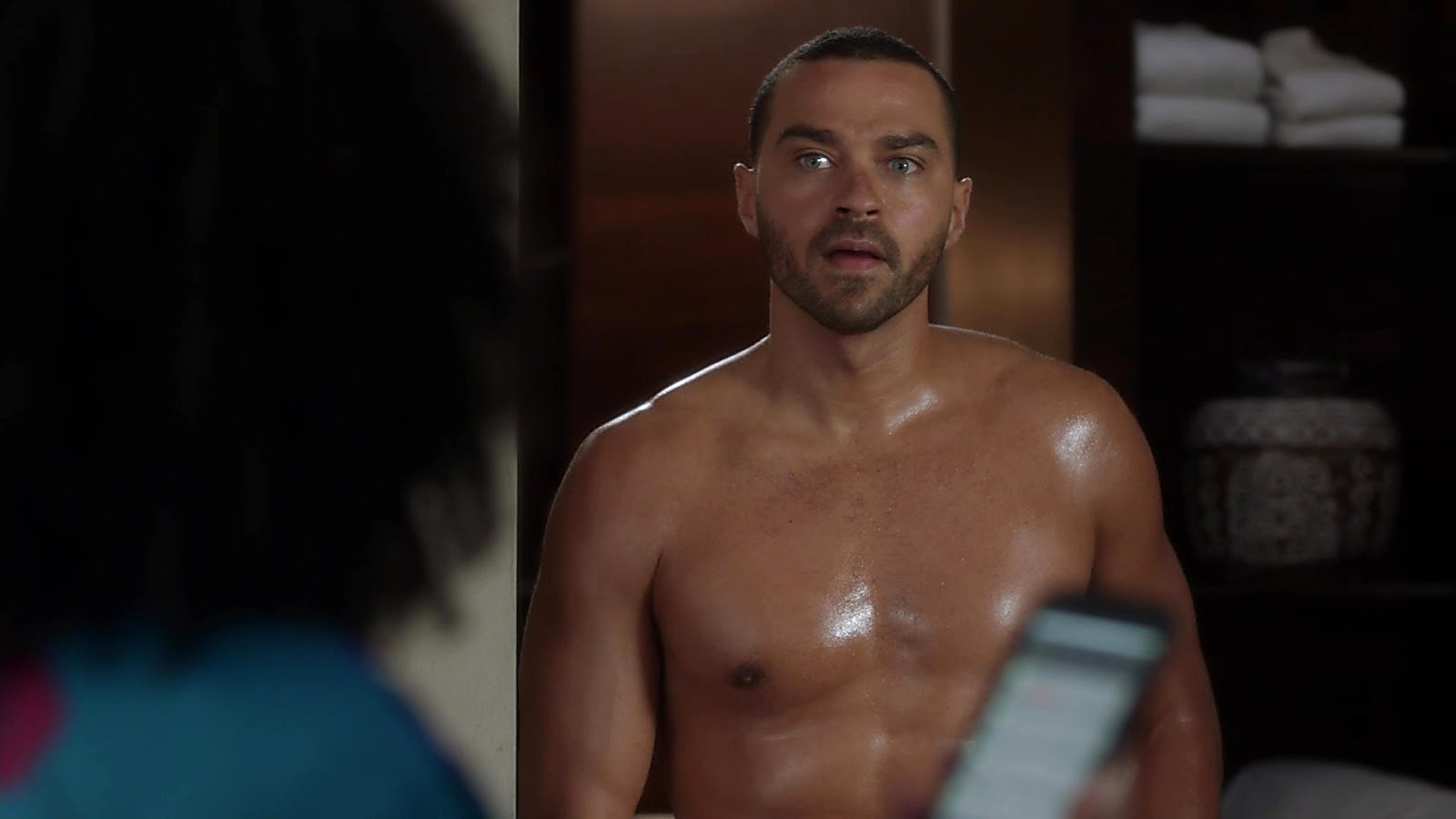 Jesse Williams sexy shirtless scene November 12, 2018, 11am