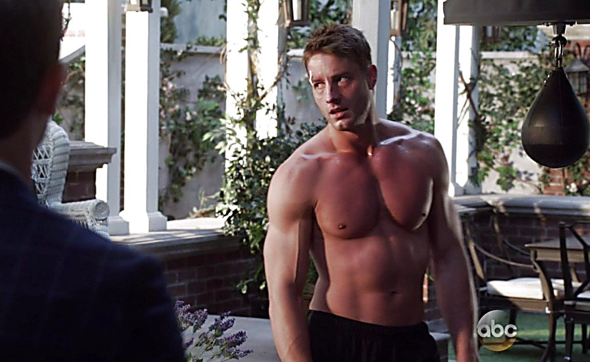 Justin Hartley sexy shirtless scene March 23, 2014, 6pm