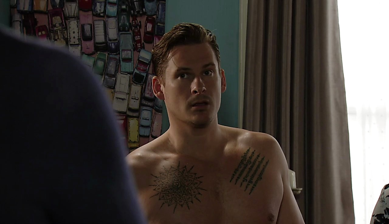 Lee Ryan sexy shirtless scene April 22, 2017, 4am