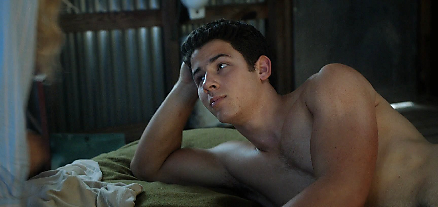 Nick Jonas sexy shirtless scene April 1, 2015, 3pm