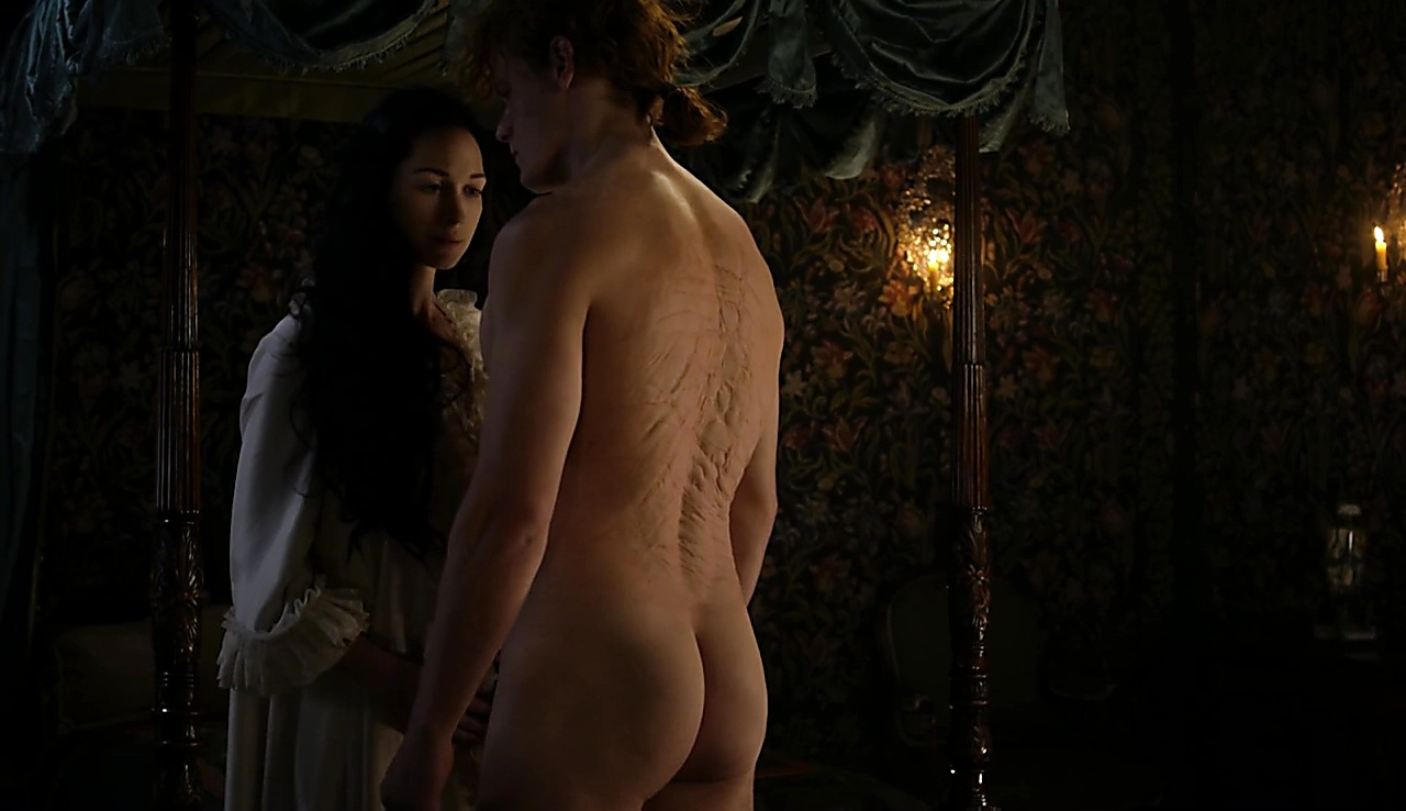 Sam Heughan sexy shirtless scene October 1, 2017, 10am