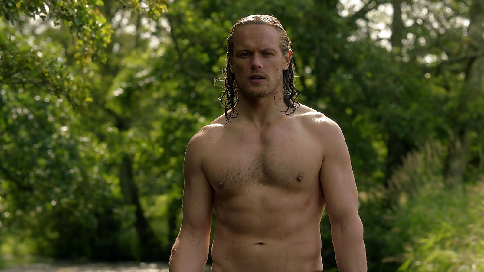 Sam Heughan sexy shirtless scene March 29, 2020, 11am