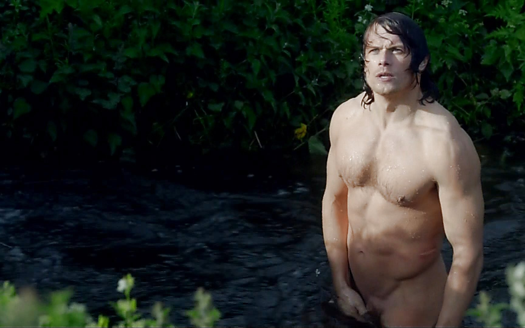 Sam Heughan sexy shirtless scene July 19, 2015, 6pm