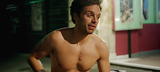 Sebastian Stan sexy shirtless scene April 16, 2021, 3am