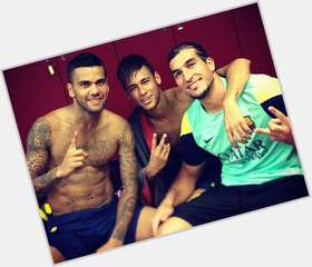 Daniel Alves dark brown hair & hairstyles Athletic body,