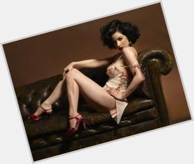 Dita Von Teese dyed black hair & hairstyles Voluptuous body,