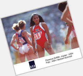 Florence Griffith Joyner dark brown hair & hairstyles Athletic body,