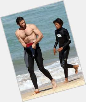 Hugh Jackman dark brown hair & hairstyles Athletic body,