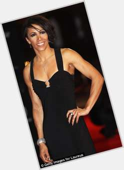 Kelly Holmes black hair & hairstyles Athletic body,